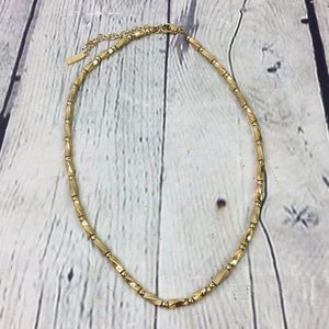 Napier Gold tone square bead linked necklace
